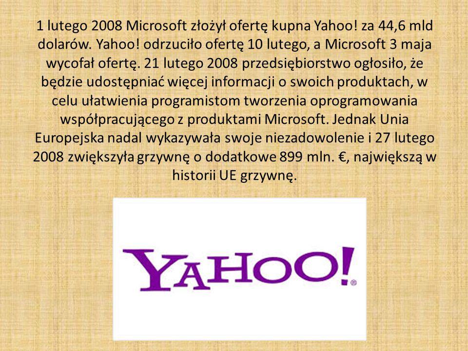 1 lutego 2008 Microsoft złożył ofertę kupna Yahoo.
