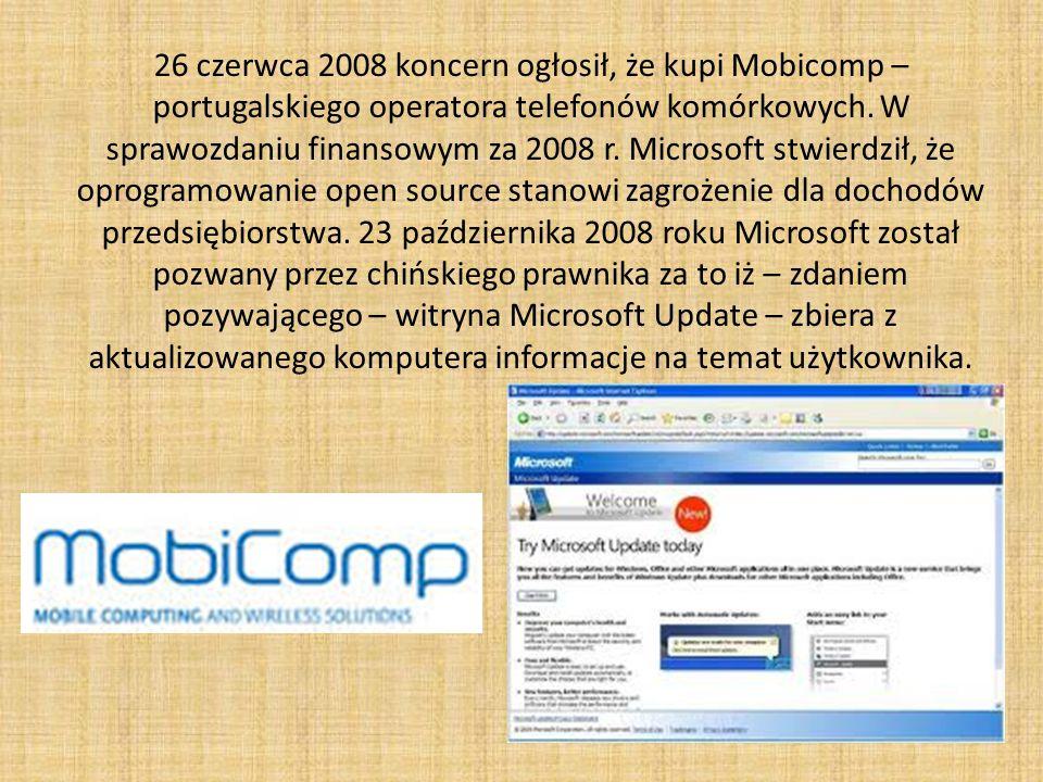 26 czerwca 2008 koncern ogłosił, że kupi Mobicomp – portugalskiego operatora telefonów komórkowych.