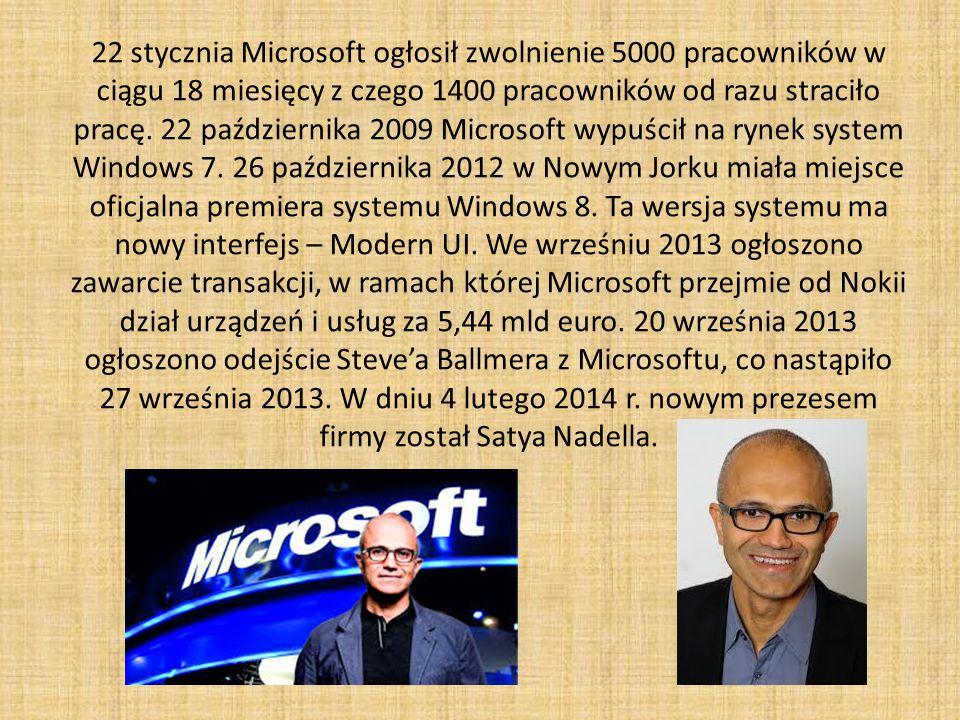 22 stycznia Microsoft ogłosił zwolnienie 5000 pracowników w ciągu 18 miesięcy z czego 1400 pracowników od razu straciło pracę.