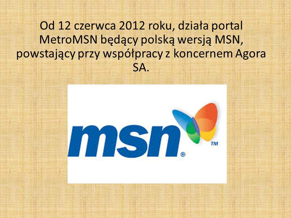 Od 12 czerwca 2012 roku, działa portal MetroMSN będący polską wersją MSN, powstający przy współpracy z koncernem Agora SA.