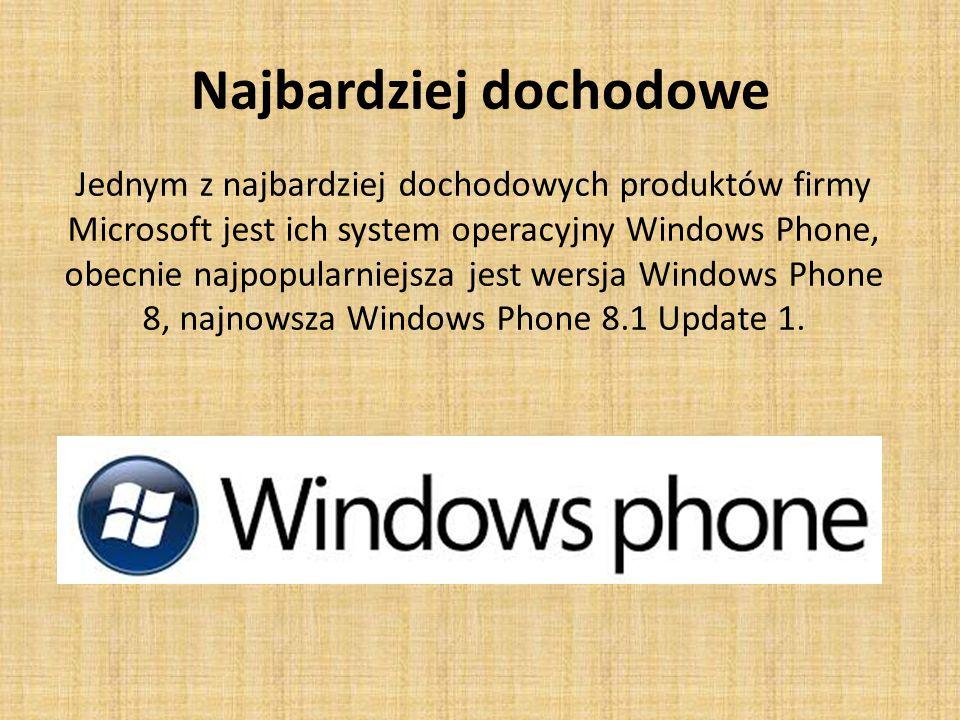 Najbardziej dochodowe Jednym z najbardziej dochodowych produktów firmy Microsoft jest ich system operacyjny Windows Phone, obecnie najpopularniejsza jest wersja Windows Phone 8, najnowsza Windows Phone 8.1 Update 1.