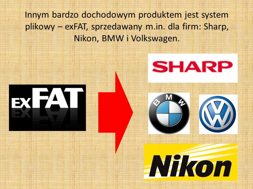 Innym bardzo dochodowym produktem jest system plikowy – exFAT, sprzedawany m.in.
