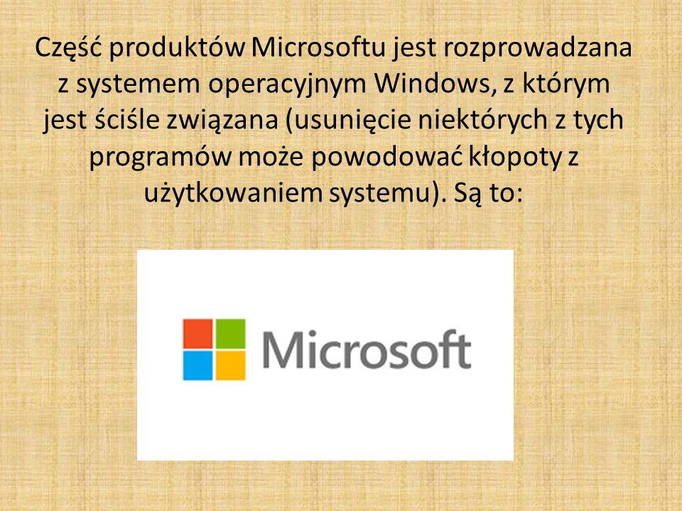 Część produktów Microsoftu jest rozprowadzana z systemem operacyjnym Windows, z którym jest ściśle związana (usunięcie niektórych z tych programów może powodować kłopoty z użytkowaniem systemu).