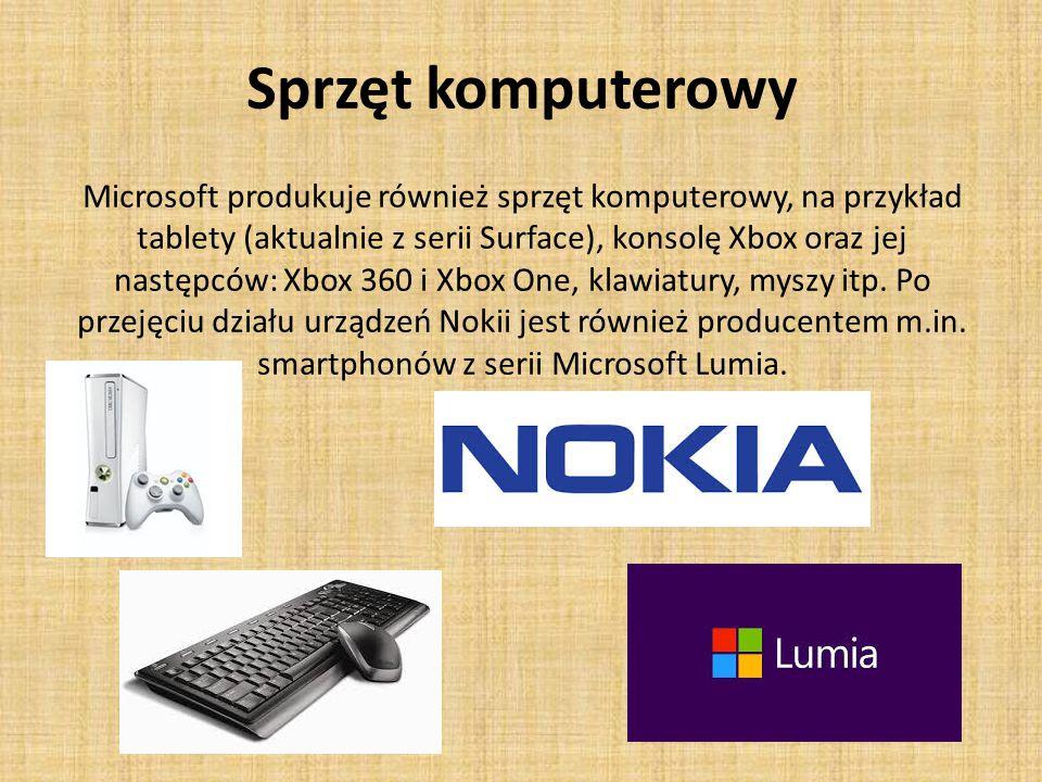 Sprzęt komputerowy Microsoft produkuje również sprzęt komputerowy, na przykład tablety (aktualnie z serii Surface), konsolę Xbox oraz jej następców: Xbox 360 i Xbox One, klawiatury, myszy itp.