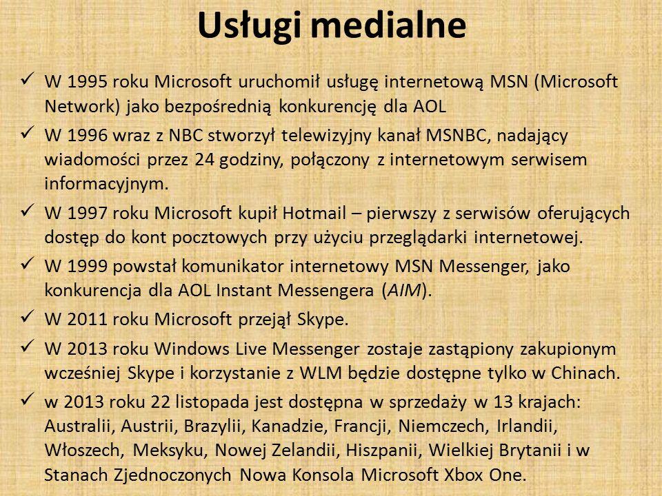 Usługi medialne W 1995 roku Microsoft uruchomił usługę internetową MSN (Microsoft Network) jako bezpośrednią konkurencję dla AOL W 1996 wraz z NBC stworzył telewizyjny kanał MSNBC, nadający wiadomości przez 24 godziny, połączony z internetowym serwisem informacyjnym.