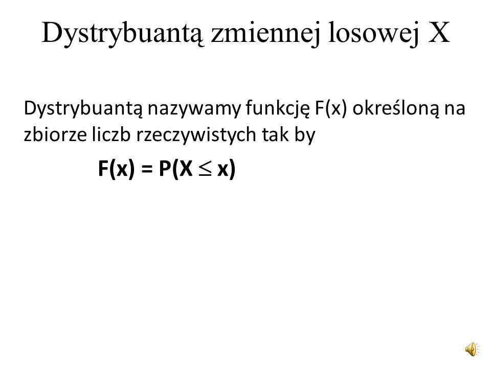Dystrybuanta zmiennej losowej X skokowej Dla zmiennej losowej skokowej – dyskretnej- dystrybuanta jest funkcją, obliczaną na podstawie wartości x 1,..