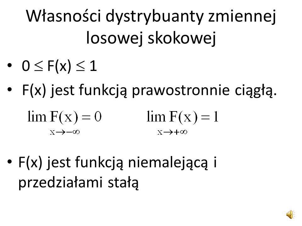 Dystrybuantą zmiennej losowej X Dystrybuantą nazywamy funkcję F(x) określoną na zbiorze liczb rzeczywistych tak by F(x) = P(X  x)