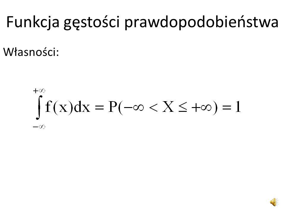 Funkcja gęstości prawdopodobieństwa Zatem funkcja gęstości prawdopodobieństwa zmiennej losowej ciągłej f(x) określona na zbiorze liczb rzeczywistych,