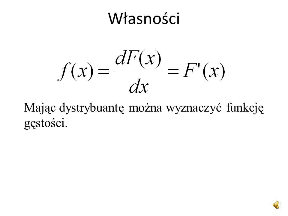 Dystrybuanta jednoznacznie określa rozkład zmiennej losowej. Jeśli dana jest funkcja gęstości można wyznaczyć dystrybuantę i odwrotnie. Jeśli dana jes