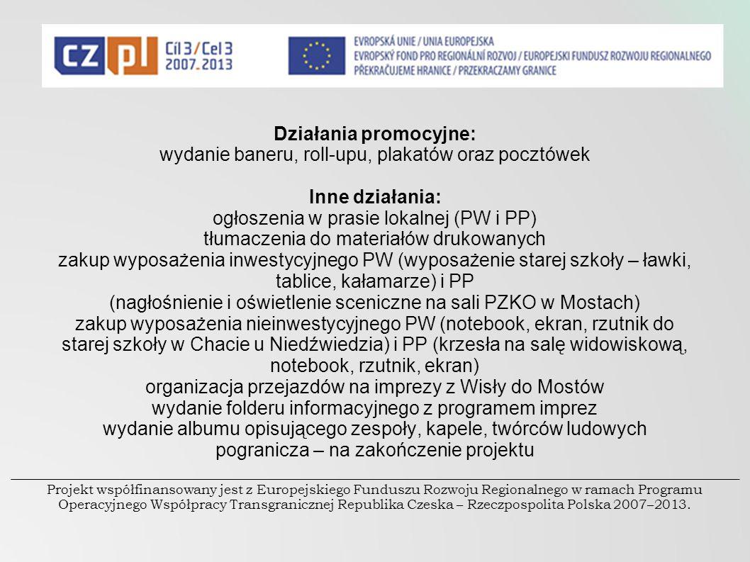 Działania promocyjne: wydanie baneru, roll-upu, plakatów oraz pocztówek Inne działania: ogłoszenia w prasie lokalnej (PW i PP) tłumaczenia do materiał