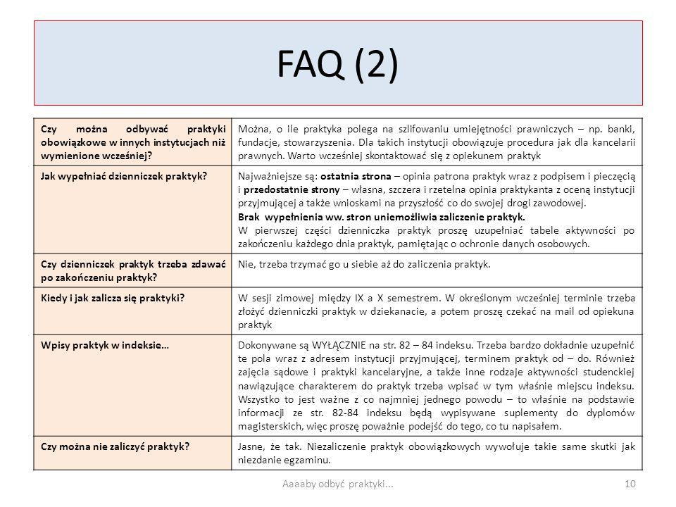 FAQ (2) Czy można odbywać praktyki obowiązkowe w innych instytucjach niż wymienione wcześniej? Można, o ile praktyka polega na szlifowaniu umiejętnośc