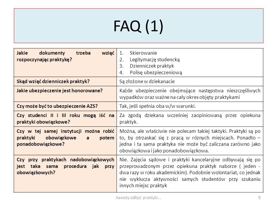 FAQ (1) Jakie dokumenty trzeba wziąć rozpoczynając praktykę? 1.Skierowanie 2.Legitymację studencką 3.Dzienniczek praktyk 4.Polisę ubezpieczeniową Skąd