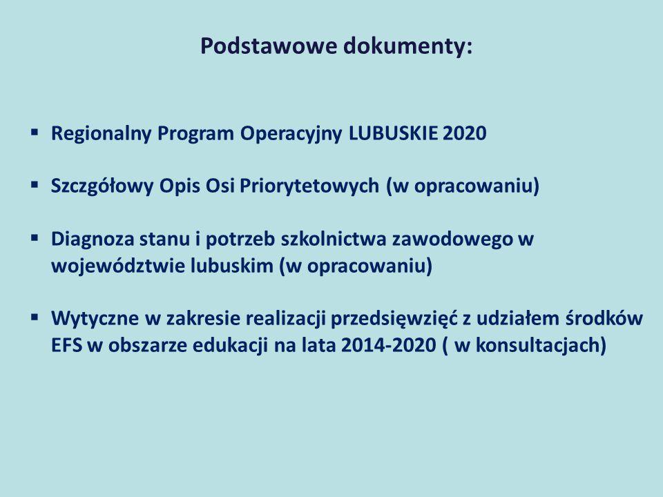 Podstawowe dokumenty:  Regionalny Program Operacyjny LUBUSKIE 2020  Szczgółowy Opis Osi Priorytetowych (w opracowaniu)  Diagnoza stanu i potrzeb szkolnictwa zawodowego w województwie lubuskim (w opracowaniu)  Wytyczne w zakresie realizacji przedsięwzięć z udziałem środków EFS w obszarze edukacji na lata 2014-2020 ( w konsultacjach)