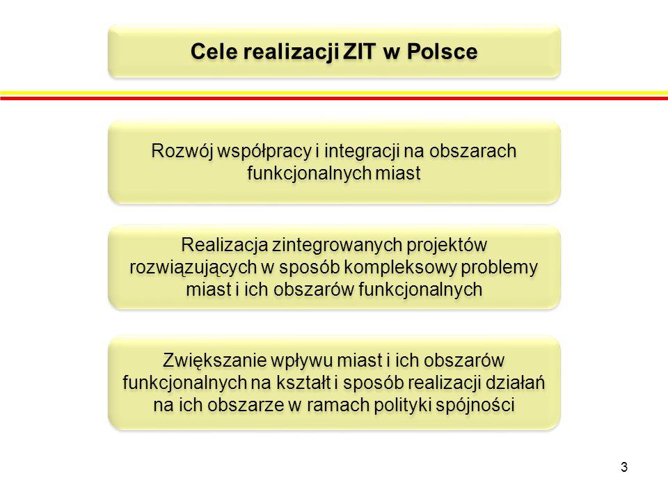 3 Cele realizacji ZIT w Polsce Rozwój współpracy i integracji na obszarach funkcjonalnych miast Realizacja zintegrowanych projektów rozwiązujących w sposób kompleksowy problemy miast i ich obszarów funkcjonalnych Zwiększanie wpływu miast i ich obszarów funkcjonalnych na kształt i sposób realizacji działań na ich obszarze w ramach polityki spójności