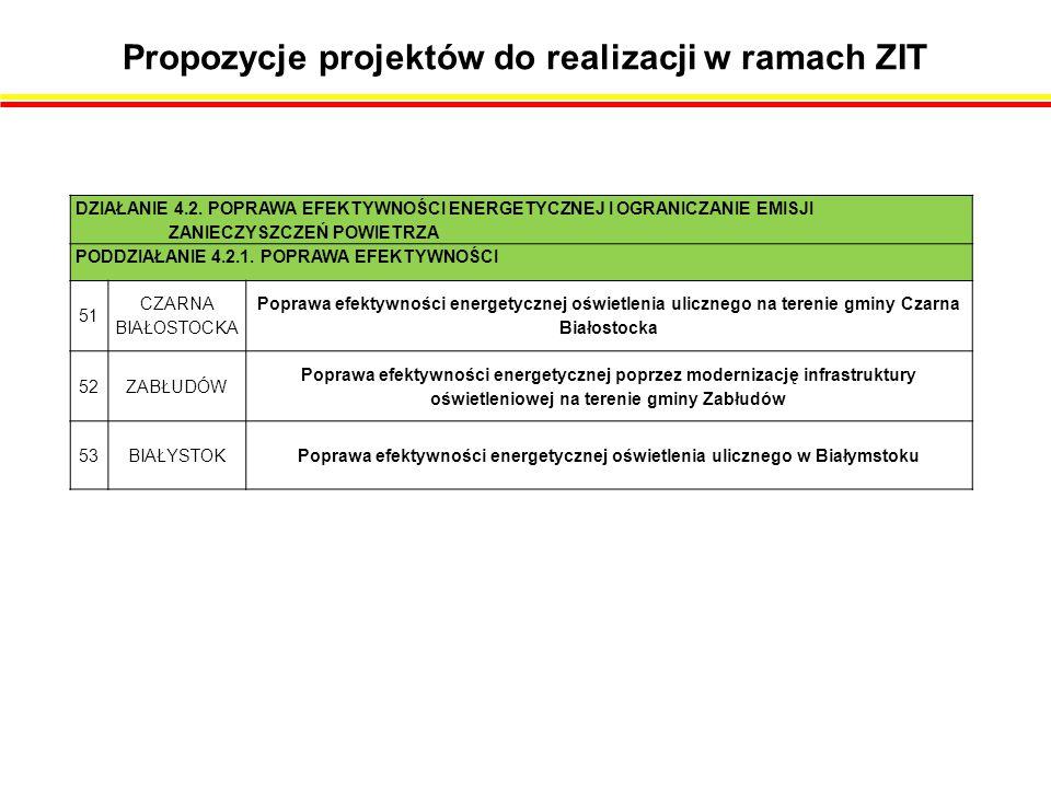 Propozycje projektów do realizacji w ramach ZIT DZIAŁANIE 4.2.
