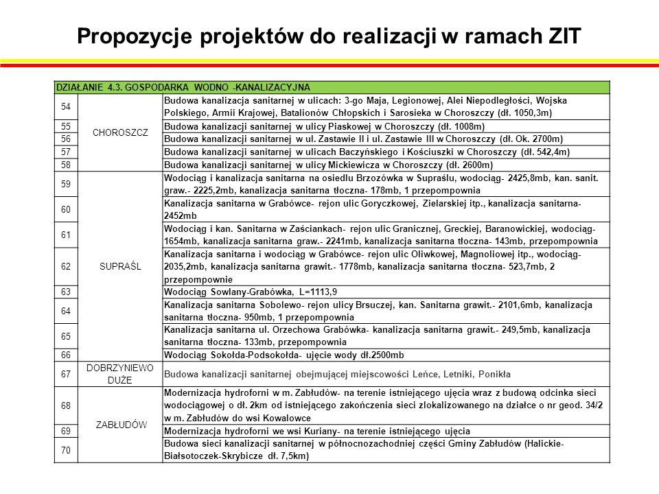 Propozycje projektów do realizacji w ramach ZIT DZIAŁANIE 4.3.