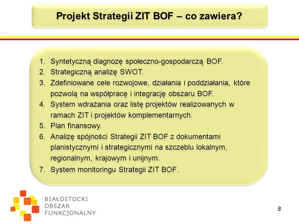 8 Projekt Strategii ZIT BOF – co zawiera.1.Syntetyczną diagnozę społeczno-gospodarczą BOF.