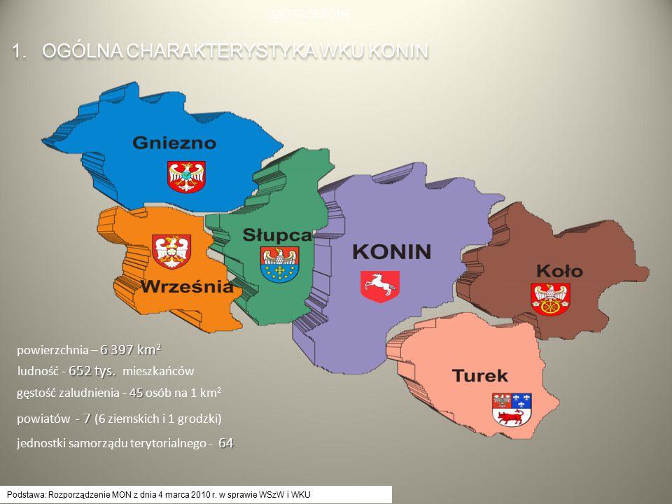 Podstawa: Rozporządzenie MON z dnia 4 marca 2010 r. w sprawie WSzW i WKU 1. OGÓLNA CHARAKTERYSTYKA WKU KONIN 6 397 km 2 powierzchnia – 6 397 km 2 652