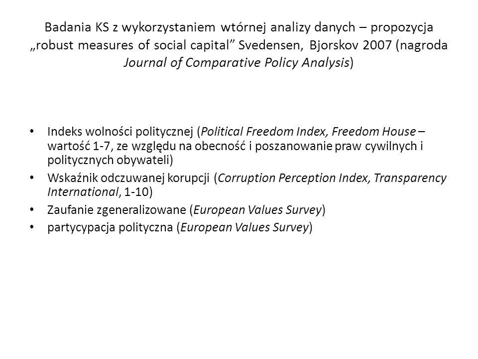 """Badania KS z wykorzystaniem wtórnej analizy danych – propozycja """"robust measures of social capital"""" Svedensen, Bjorskov 2007 (nagroda Journal of Compa"""