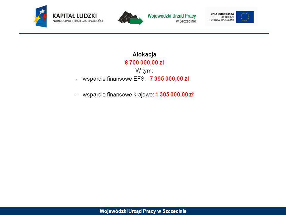 Wojewódzki Urząd Pracy w Szczecinie Alokacja 8 700 000,00 zł W tym: -wsparcie finansowe EFS: 7 395 000,00 zł -wsparcie finansowe krajowe: 1 305 000,00 zł