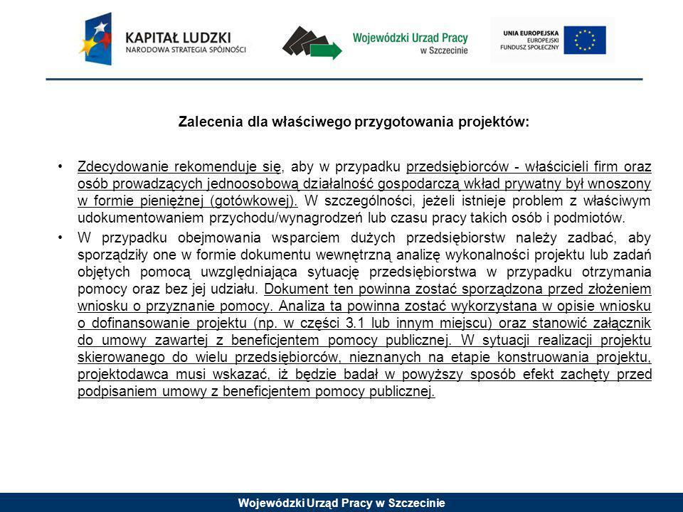 Wojewódzki Urząd Pracy w Szczecinie Zalecenia dla właściwego przygotowania projektów: Zdecydowanie rekomenduje się, aby w przypadku przedsiębiorców - właścicieli firm oraz osób prowadzących jednoosobową działalność gospodarczą wkład prywatny był wnoszony w formie pieniężnej (gotówkowej).