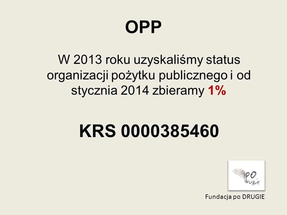 OPP Fundacja po DRUGIE W 2013 roku uzyskaliśmy status organizacji pożytku publicznego i od stycznia 2014 zbieramy 1% KRS 0000385460