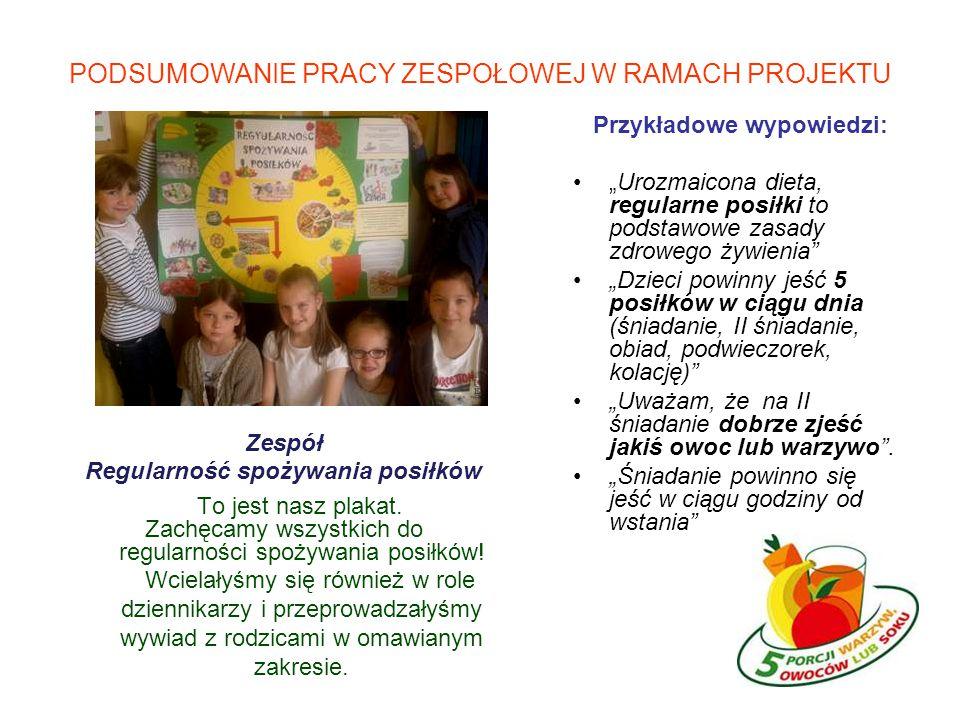 PODSUMOWANIE PRACY ZESPOŁOWEJ W RAMACH PROJEKTU Zespół Regularność spożywania posiłków To jest nasz plakat.