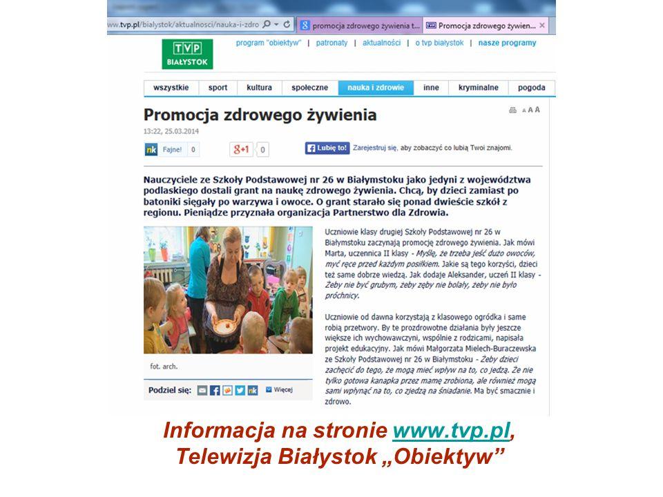 """Informacja na stronie www.tvp.pl, Telewizja Białystok """"Obiektyw""""www.tvp.pl"""