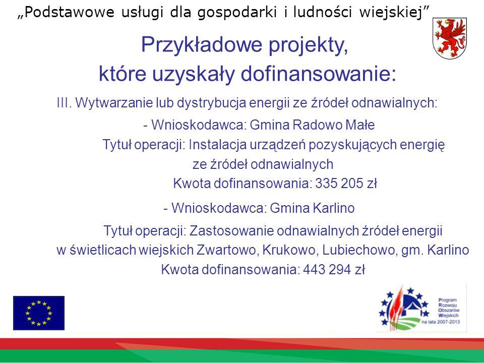Przykładowe projekty, które uzyskały dofinansowanie: III.