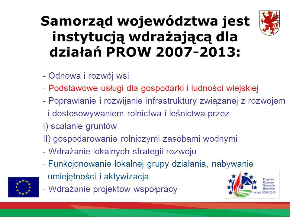 Samorząd województwa jest instytucją wdrażającą dla działań PROW 2007-2013: - Odnowa i rozwój wsi - Podstawowe usługi dla gospodarki i ludności wiejskiej - Poprawianie i rozwijanie infrastruktury związanej z rozwojem i dostosowywaniem rolnictwa i leśnictwa przez I) scalanie gruntów II) gospodarowanie rolniczymi zasobami wodnymi - Wdrażanie lokalnych strategii rozwoju - Funkcjonowanie lokalnej grupy działania, nabywanie umiejętności i aktywizacja - Wdrażanie projektów współpracy