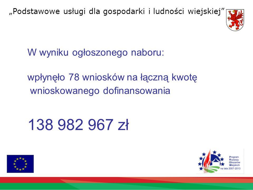 """""""Podstawowe usługi dla gospodarki i ludności wiejskiej W wyniku ogłoszonego naboru: wpłynęło 78 wnioskówna łączną kwotę wnioskowanego dofinansowania 138 982 967 zł"""