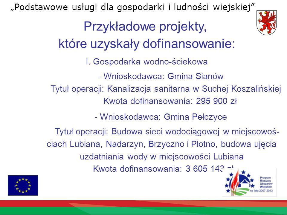 Przykładowe projekty, które uzyskały dofinansowanie: I.