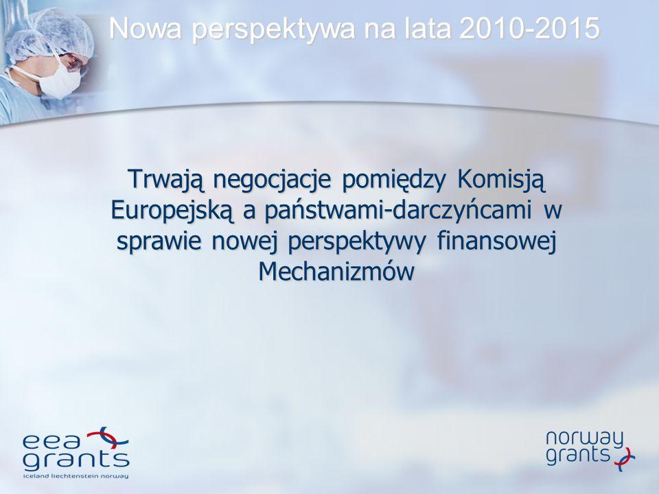 Nowa perspektywa na lata 2010-2015 Trwają negocjacje pomiędzy Komisją Europejską a państwami-darczyńcami w sprawie nowej perspektywy finansowej Mechan