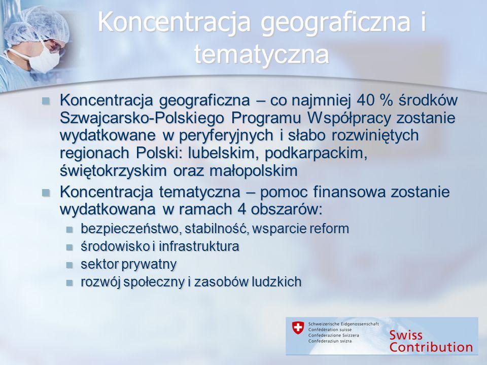 Koncentracja geograficzna i tematyczna Koncentracja geograficzna – co najmniej 40 % środków Szwajcarsko-Polskiego Programu Współpracy zostanie wydatko