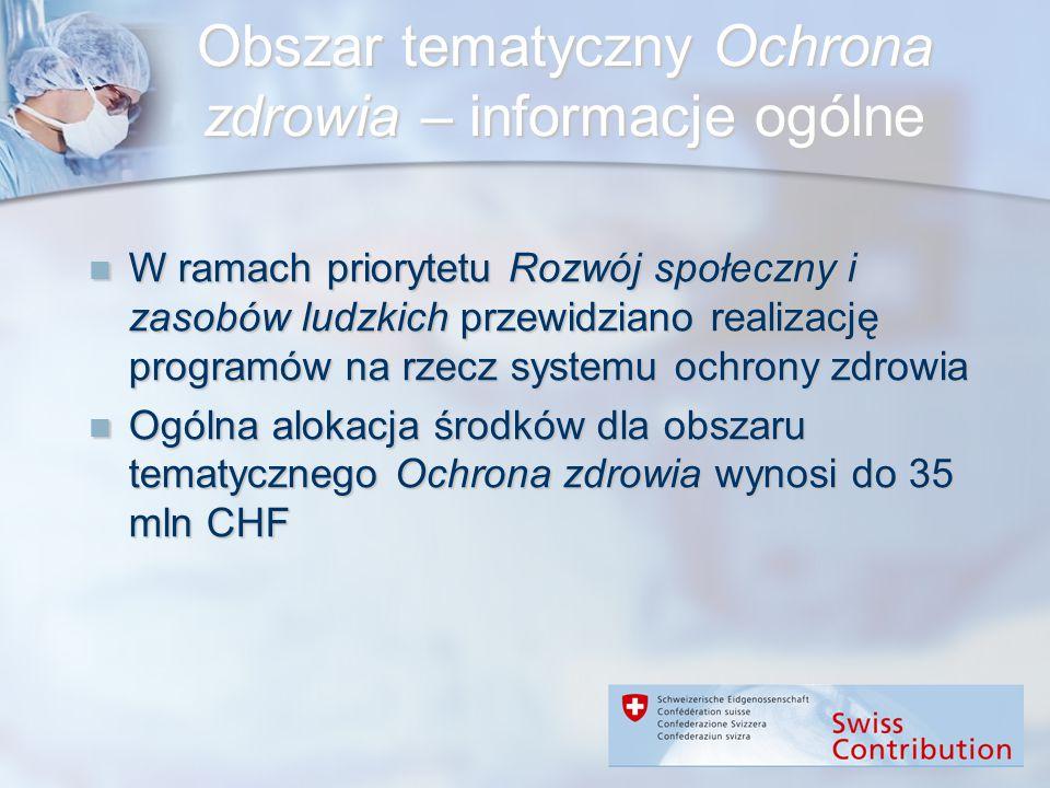 Obszar tematyczny Ochrona zdrowia – informacje ogólne W ramach priorytetu Rozwój społeczny i zasobów ludzkich przewidziano realizację programów na rze