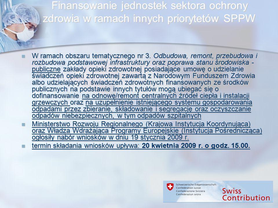 Finansowanie jednostek sektora ochrony zdrowia w ramach innych priorytetów SPPW W ramach obszaru tematycznego nr 3. Odbudowa, remont, przebudowa i roz