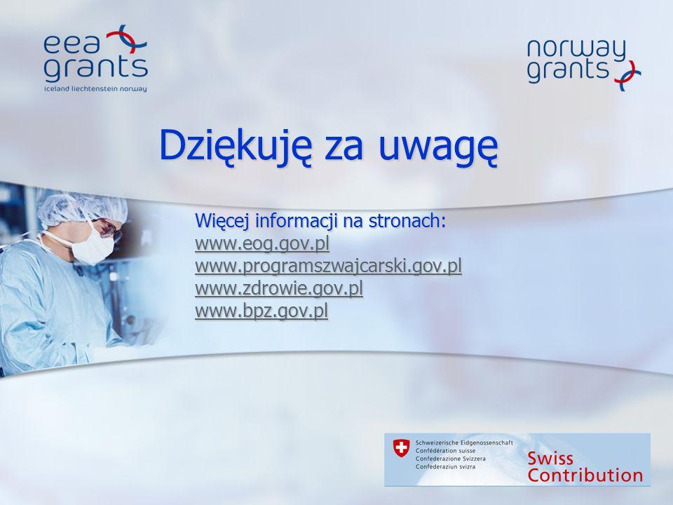 Dziękuję za uwagę Więcej informacji na stronach: www.eog.gov.pl www.programszwajcarski.gov.pl www.zdrowie.gov.pl www.bpz.gov.pl