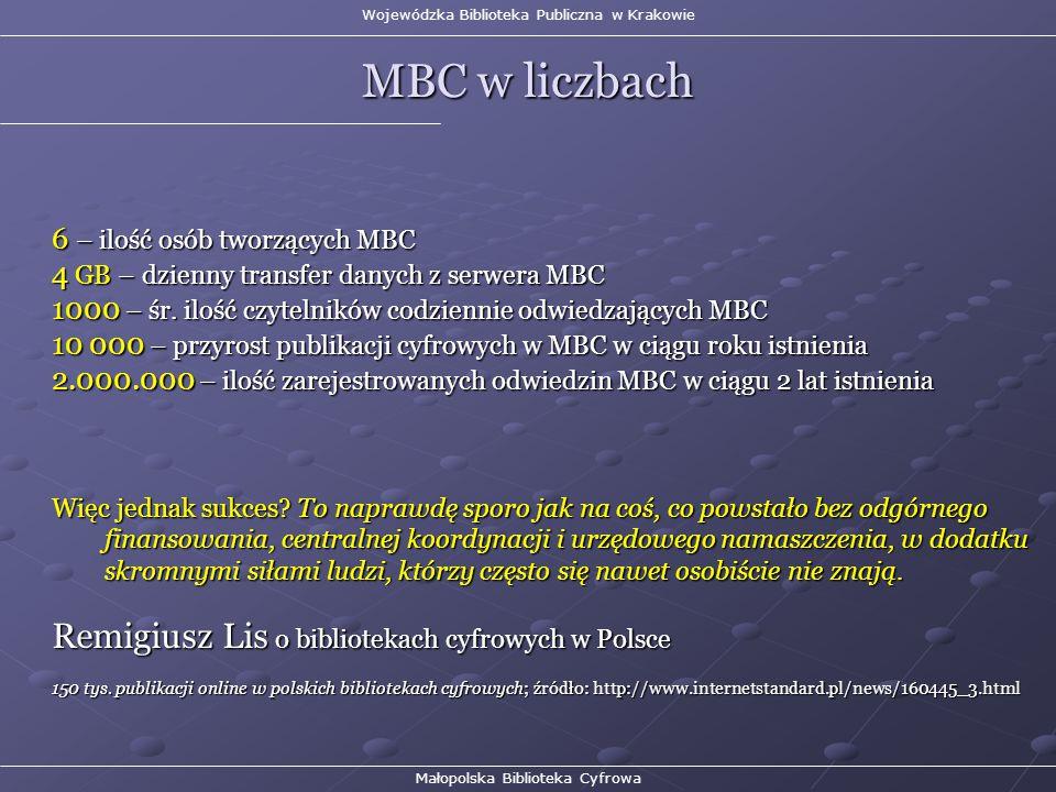 Wojewódzka Biblioteka Publiczna w Krakowie MBC w liczbach Małopolska Biblioteka Cyfrowa 6 – ilość osób tworzących MBC 4 GB – dzienny transfer danych z serwera MBC 1000 – śr.