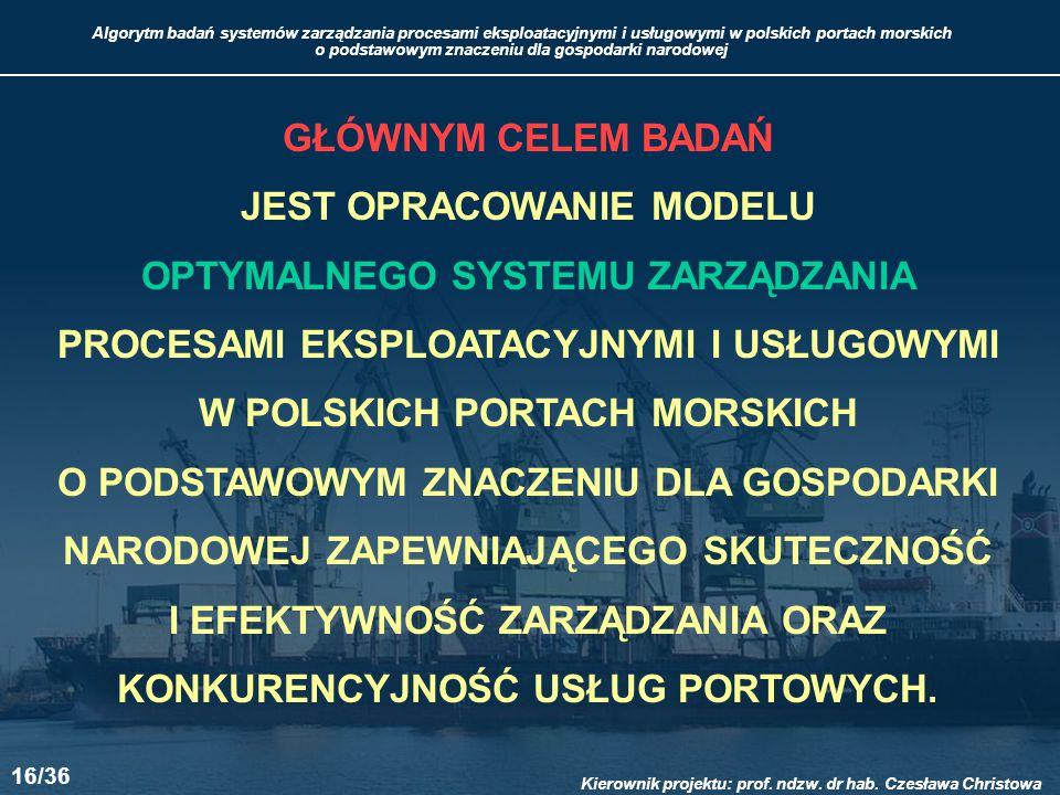Algorytm badań systemów zarządzania procesami eksploatacyjnymi i usługowymi w polskich portach morskich o podstawowym znaczeniu dla gospodarki narodowej Kierownik projektu: prof.