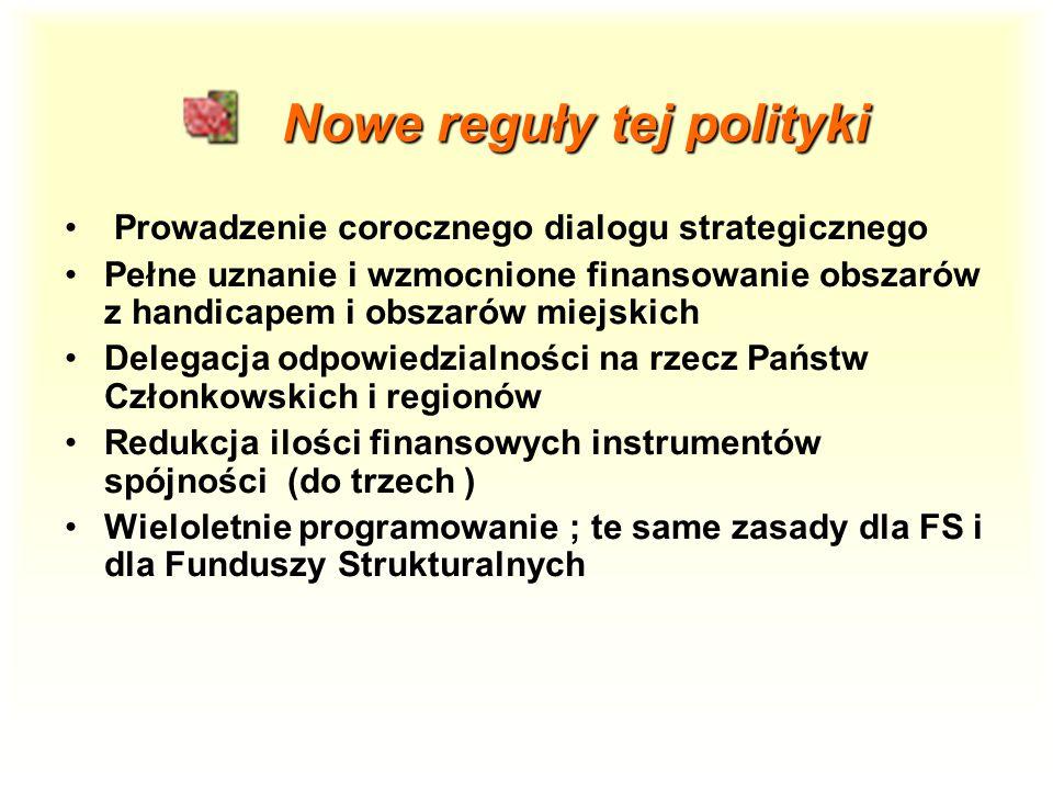 Nowe reguły tej polityki Nowe reguły tej polityki Prowadzenie corocznego dialogu strategicznego Pełne uznanie i wzmocnione finansowanie obszarów z handicapem i obszarów miejskich Delegacja odpowiedzialności na rzecz Państw Członkowskich i regionów Redukcja ilości finansowych instrumentów spójności (do trzech ) Wieloletnie programowanie ; te same zasady dla FS i dla Funduszy Strukturalnych
