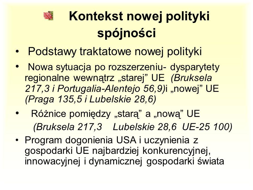 """Kontekst nowej polityki spójności Podstawy traktatowe nowej polityki Nowa sytuacja po rozszerzeniu- dysparytety regionalne wewnątrz """"starej UE (Bruksela 217,3 i Portugalia-Alentejo 56,9)i """"nowej UE (Praga 135,5 i Lubelskie 28,6) Różnice pomiędzy """"starą a """"nową UE (Bruksela 217,3 Lubelskie 28,6 UE-25 100) Program dogonienia USA i uczynienia z gospodarki UE najbardziej konkurencyjnej, innowacyjnej i dynamicznej gospodarki świata"""