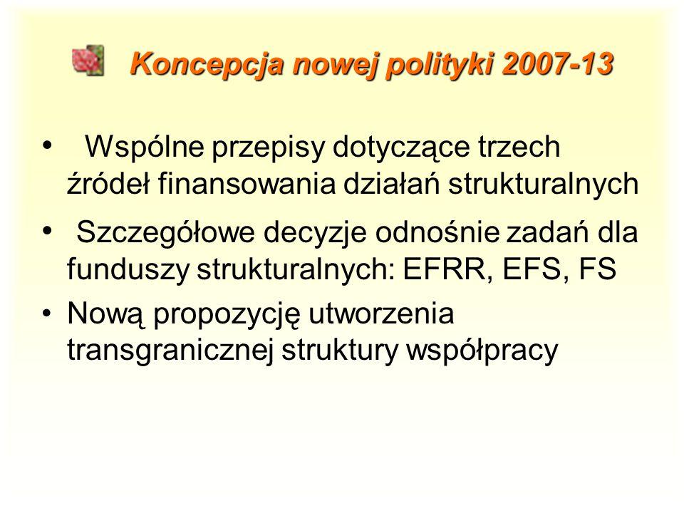 Koncepcja nowej polityki 2007-13 Koncepcja nowej polityki 2007-13 Wspólne przepisy dotyczące trzech źródeł finansowania działań strukturalnych Szczegółowe decyzje odnośnie zadań dla funduszy strukturalnych: EFRR, EFS, FS Nową propozycję utworzenia transgranicznej struktury współpracy