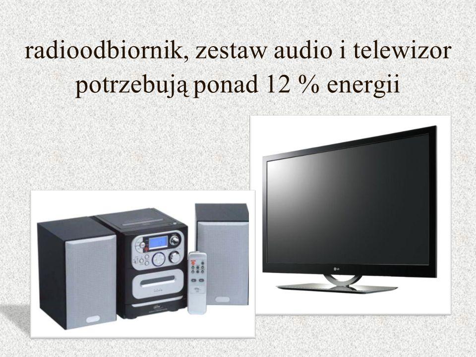 radioodbiornik, zestaw audio i telewizor potrzebują ponad 12 % energii