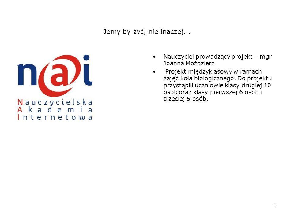 2 Cele projektu Uczniowie nauczą się wybierać informacje istotne.