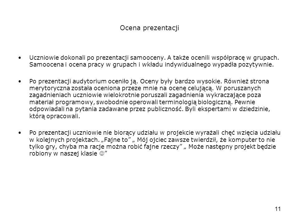11 Ocena prezentacji Uczniowie dokonali po prezentacji samooceny.