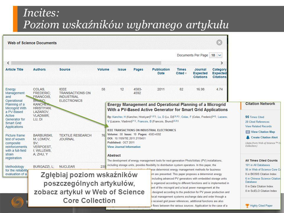 Incites: Poziom wskaźników wybranego artykułu Zgłębiaj poziom wskaźników poszczególnych artykułów, zobacz artykuł w Web of Science Core Collection