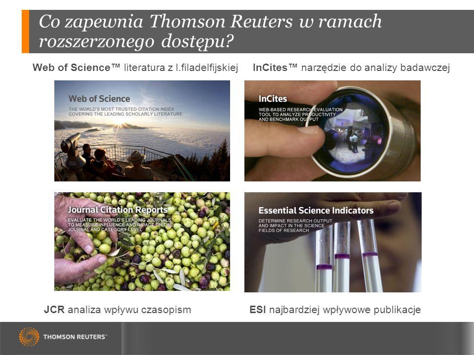 Co zapewnia Thomson Reuters w ramach rozszerzonego dostępu.