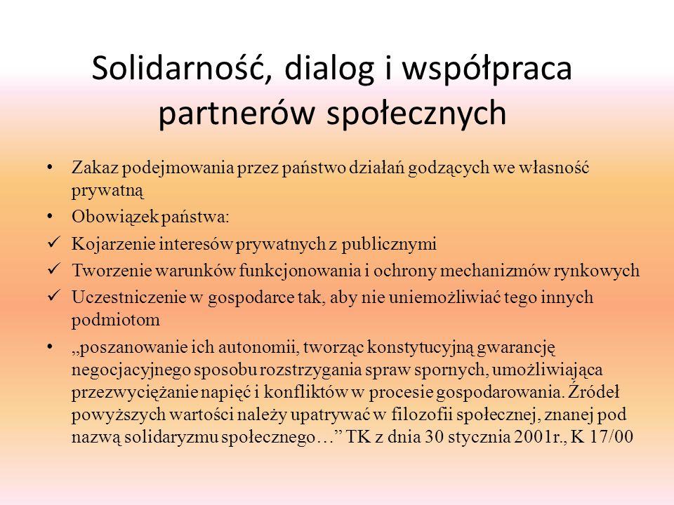 Solidarność, dialog i współpraca partnerów społecznych Zakaz podejmowania przez państwo działań godzących we własność prywatną Obowiązek państwa: Koja