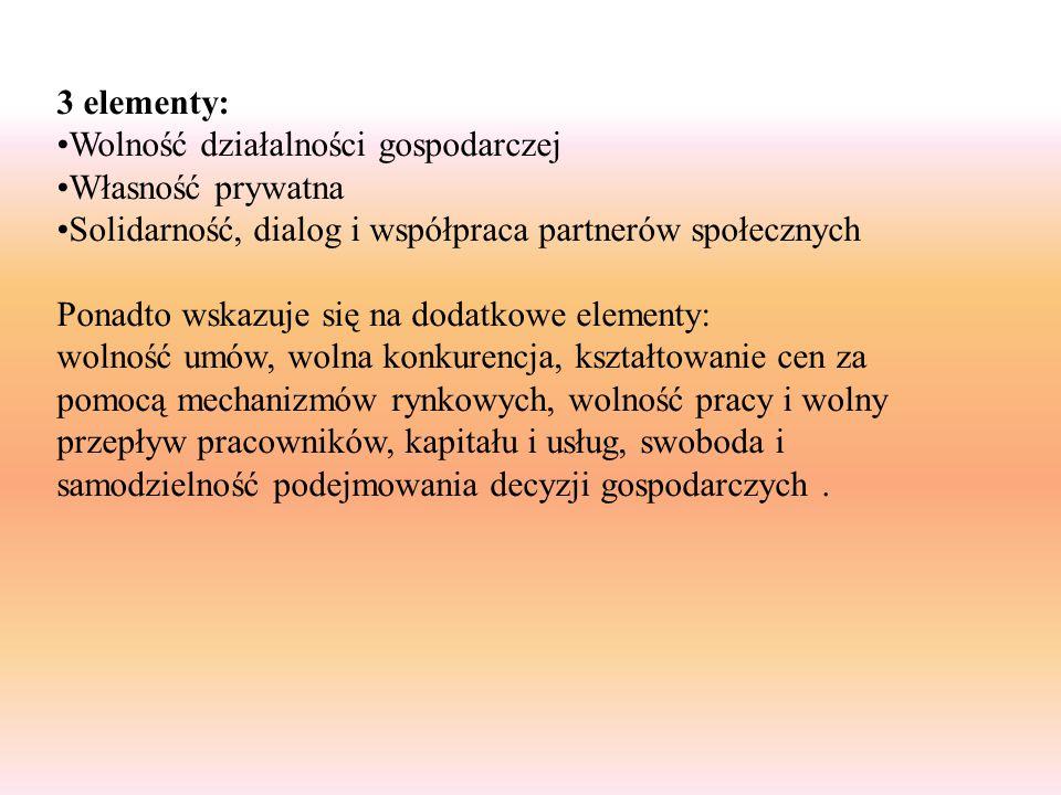 3 elementy: Wolność działalności gospodarczej Własność prywatna Solidarność, dialog i współpraca partnerów społecznych Ponadto wskazuje się na dodatko
