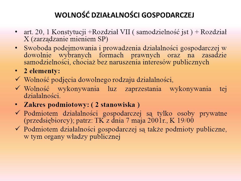art. 20, 1 Konstytucji +Rozdział VII ( samodzielność jst ) + Rozdział X (zarządzanie mieniem SP) Swoboda podejmowania i prowadzenia działalności gospo